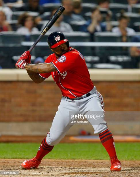Howie Kendrick of the Washington Nationals in action against the New York Mets at Citi Field on September 23 2017 in the Flushing neighborhood of the...