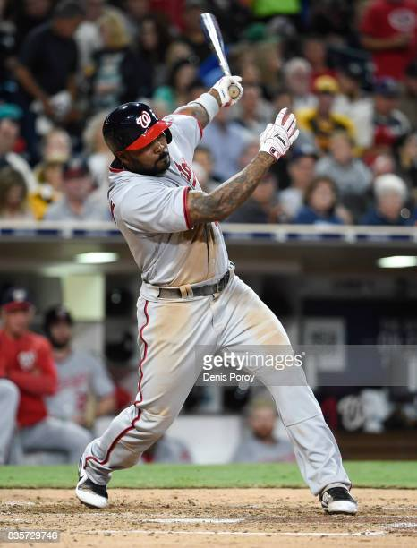 Howie Kendrick of the Washington Nationals plays during a baseball game against the San Diego Padres at PETCO Park on August 17 2017 in San Diego...