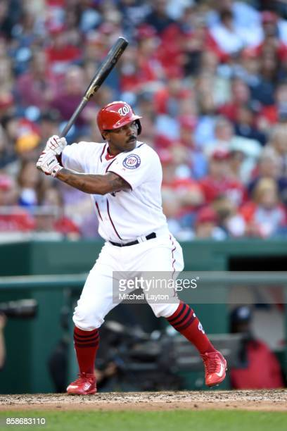 Howie Kendrick of the Washington Nationals prepares for a pitch during a baseball game against the Pittsburgh Pirates at Nationals Park on October 1...