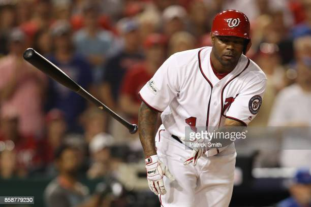 Howie Kendrick of the Washington Nationals reacts after being walked against the Chicago Cubs in the fifth inning during game two of the National...