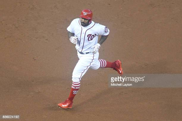 Howie Kendrick of the Washington Nationals runs to third base during a baseball game against the Los Angeles Angels of Anaheim at Nationals Park on...