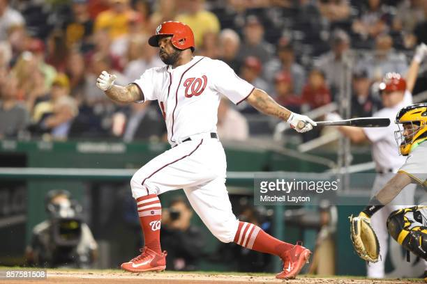 Howie Kendrick of the Washington Nationals takes a swing during a baseball game against the Pittsburgh Pirates at Nationals Park on September 28 2017...