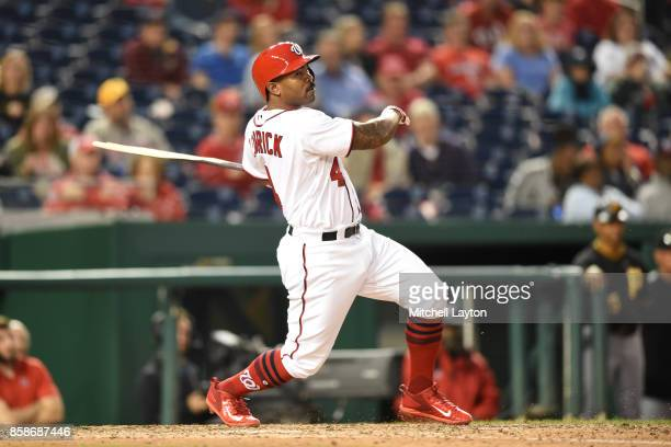 Howie Kendrick of the Washington Nationals takes a swing during a baseball game against the Pittsburgh Pirates at Nationals Park on October 1 2017 in...