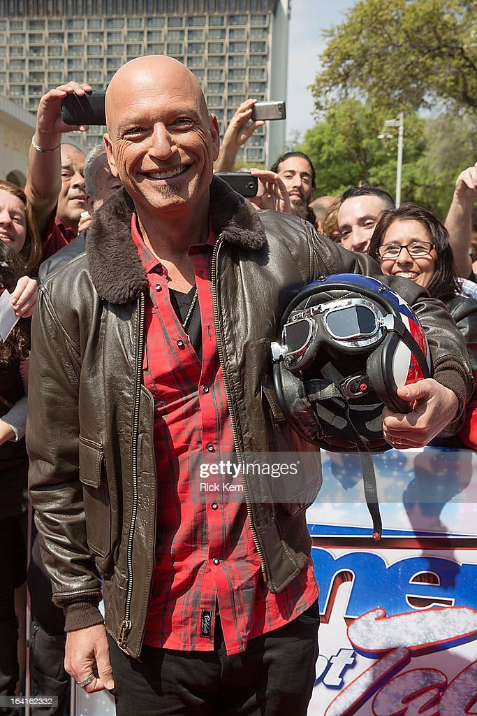 <a gi-track='captionPersonalityLinkClicked' href=/galleries/search?phrase=Howie+Mandel&family=editorial&specificpeople=595760 ng-click='$event.stopPropagation()'>Howie Mandel</a> arrives at the 'America's Got Talent' Season 8 auditions at the Lila Cockrell Theatre on March 20, 2013 in San Antonio, Texas.