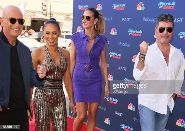 Howie Mandel Mel B Heidi Klum and Simon Cowell attend NBC's 'America's Got Talent' Season 12 Kickoff on March 27 2017 in Pasadena California