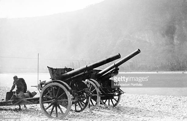 A howitzer of the Austrian army has been taken away by the French soldiers Valdobbiadene 1910s
