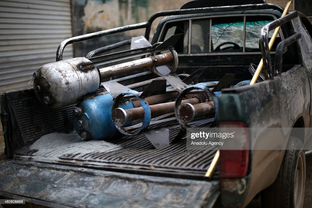 Howitzers, made up by propane cylinder and named 'hell', are seen during the operation staged by the 16th division members of Free Syrian Army (FSA) against Assad regime forces in Ashrafieh district of Aleppo, Syria on January 31, 2015.
