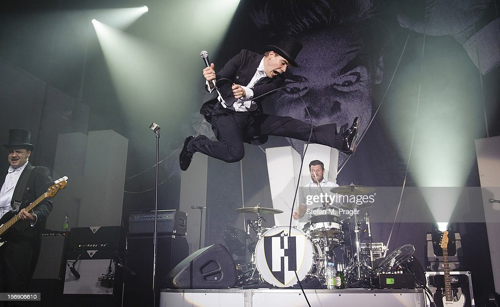 Howlin' Pelle Almqvist and Christian Grahn of The Hives perform at Kesselhaus on November 24, 2012 in Munich, Germany.