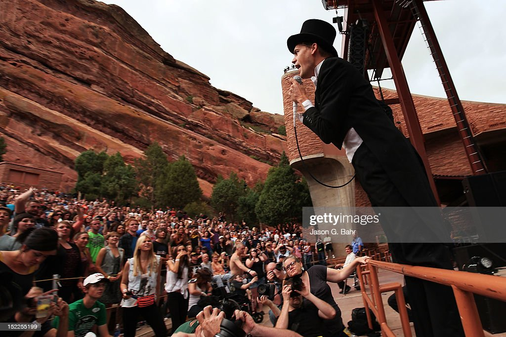 Howlin' Pelle Almqvist of The Hives performs at Red Rocks Amphitheatre as part of 93.3's Big Gig on September 16, 2012 in Morrison, Colorado.