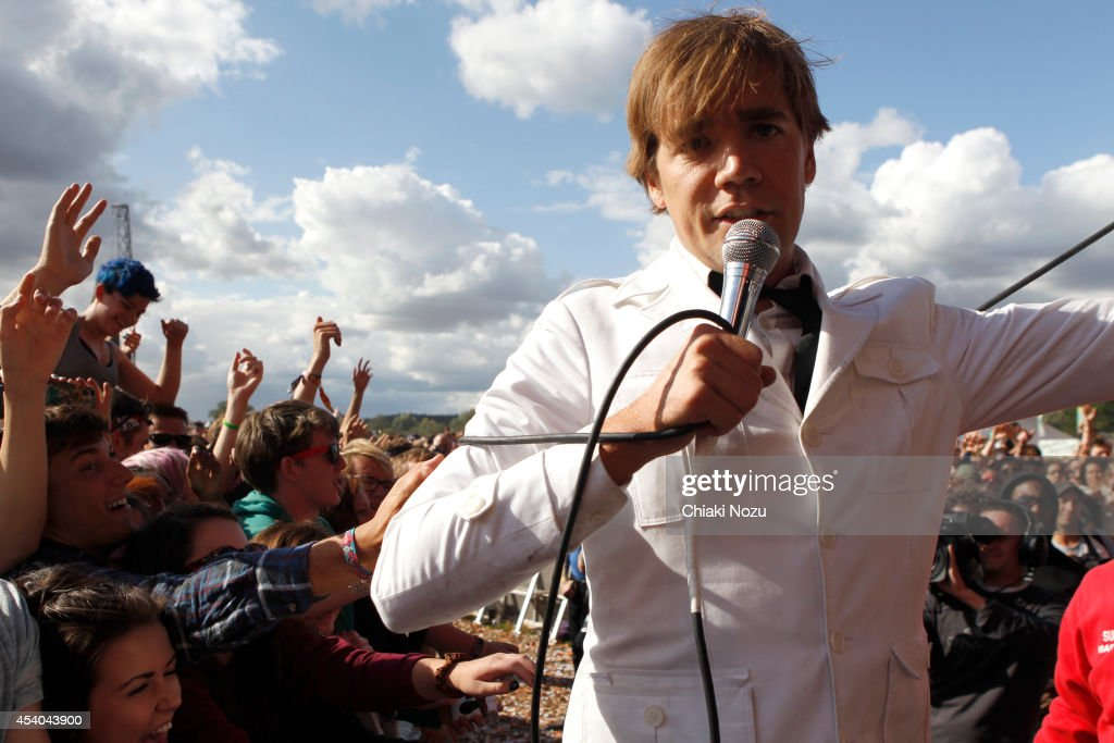 Howlin' Pelle Almqvist of The Hives performs on Day 2 of the Reading Festival at Richfield Avenue on August 23, 2014 in Reading, England.