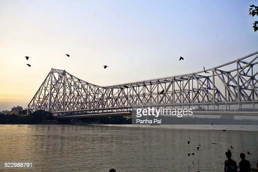 Howrah Bridge over River Ganga at late evening