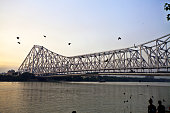 Howrah Bridge over River Ganga at late evening