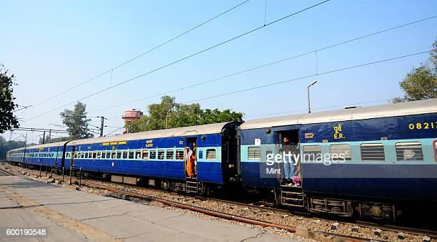 Howrah to Delhi train at New Delhi Railway Station on February 11 2013 in New Delhi India