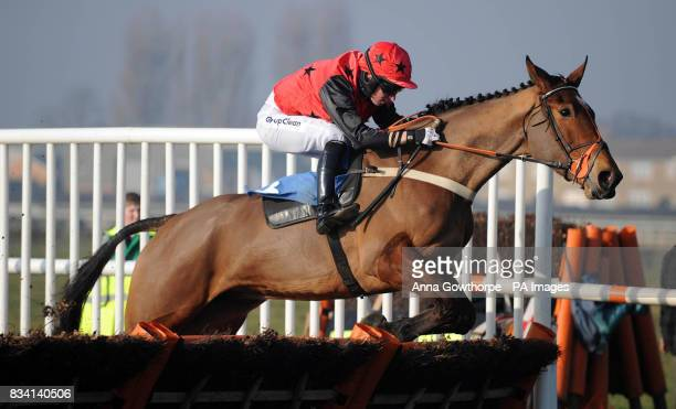 How's Business ridden by Noel Fehily on the way to winning the Sportsman's Dinner 17th April Juvenile Fillies Only Maiden Hurdle Race at Wetherby...
