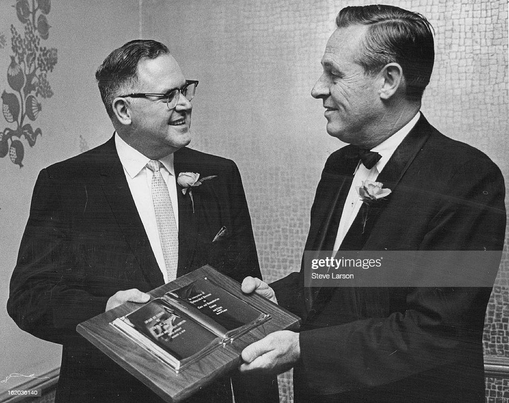 DEC 14 1968 DEC 15 1968 JAN 3 1971 Howsam Bob Groups Service Award Accepted Bob Howsam left soninlaw of Ed C Johnson accepts Rose Memorial Hospital's...