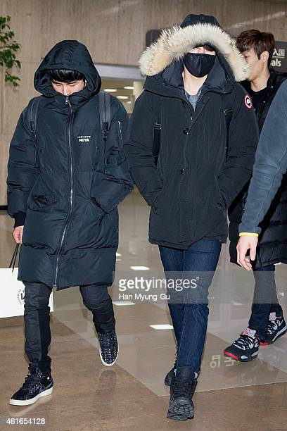Hoya and Sung Yeol of South Korean boy band Infinite are seen upon arrival at Gimpo International Airport on January 16 2015 in Seoul South Korea