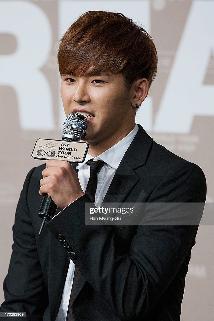 Hoya of South Korean boy band Infinite talks to media during the 2013 Infinite 1st World Tour 'One Great Step' Press Conference on June 10, 2013 in Seoul, South Korea.