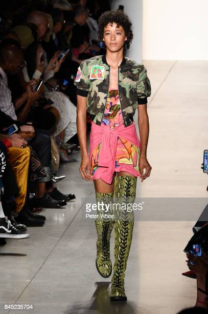 Hoyeon Jung walks the runway during the Jeremy Scott fashion show during New York Fashion Week on September 8 2017 in New York City