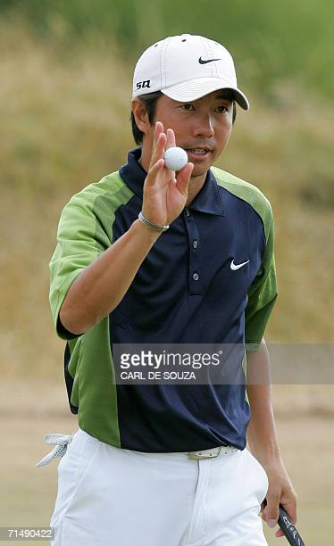 Keiichiro Fukabori of Japan plays during the opening day of the 135th British Open Golf Championships in Hoylake in Liverpool in northwest England 20...