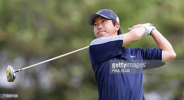 Keiichiro Fukabori of Japan teesoff on the fifth tee in the fourth round of the 135th British Open Golf Championships in Hoylake in Liverpool in...