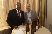 Hoyt Harper Global Brand Leader SVP Sheraton Hotels Resorts and Bob Bertheau head winemaker of Chateau Ste Michelle Wine Estates attend Sheraton...