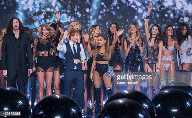 Hozier Taylor Swift Ed Sheeran and Ariana Grande pose with models on runway at the annual Victoria's Secret fashion show at Earls Court on December 2...