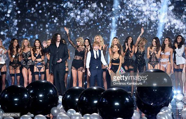 Hozier Taylor Swift Ed Sheeran and Ariana Grande with Victoria's Secret models on the runway during the 2014 Victoria's Secret Fashion Show at Earl's...