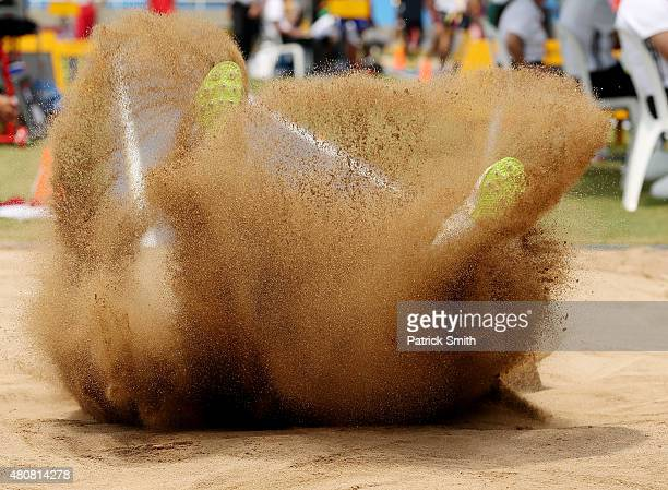 Hrachya Amirjanyan of Armenia in action during qualification for the Boys Long Jump on day one of the IAAF World Youth Championships Cali 2015 on...