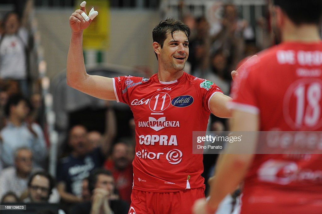 Hristo Zlatanov of Copra Elior Piacenza celebrates after scoring a point during game 4 of Playoffs Finals between Copra Elior Piacenza and Itas Diatec Trento at Palabanca on May 5, 2013 in Piacenza, Italy.