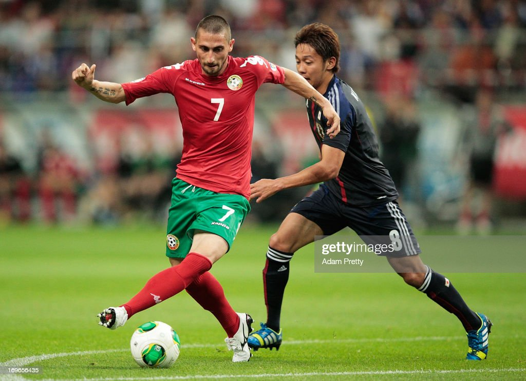 Hristo Zlatinsky of Bulgaria controls the ball during the Japan vs Bulgaria international friendly football match at Toyota Stadium on May 30 2013 in...