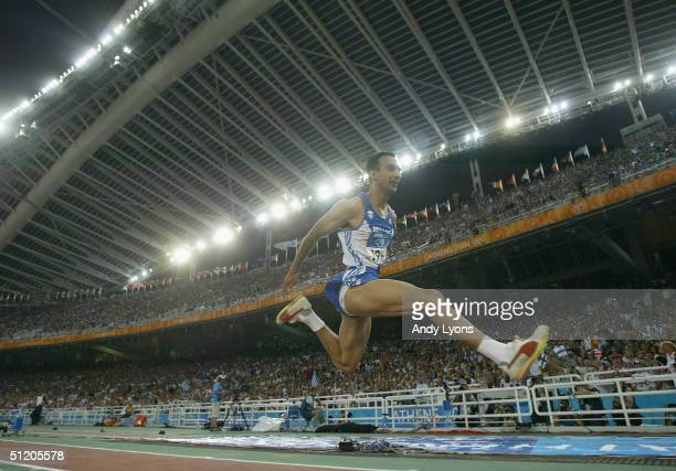 Hristos Meletoglou of Greece competes in the men's triple jump final on August 22 2004 during the Athens 2004 Summer Olympic Games at the Olympic...