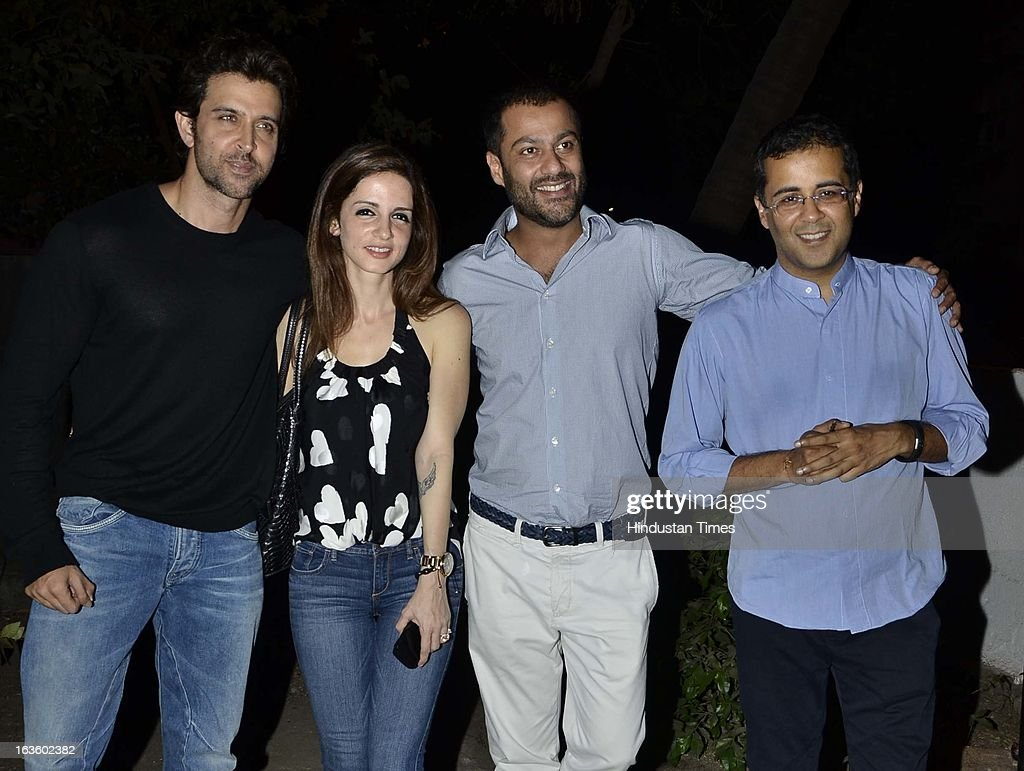 Hrithik and Susanne Roshan with Abhishek Kapoor and Chetan Bhagat at Special preview of Otlo Design project hosted by Belvedere Vodka at Bhavishyavani Backyard, Bandra on March 11, 2013 in Mumbai, India.