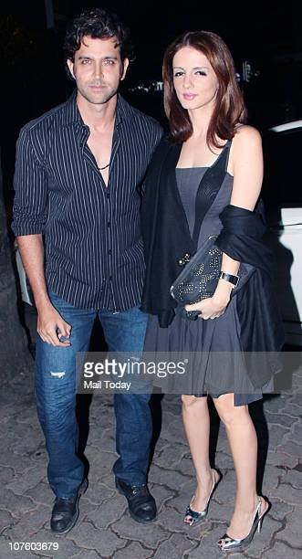 Hrithik and Suzanne Roshan at the wedding anniversary celebrations of Fardeen Natasha Khan in Mumbai on December 14 2010