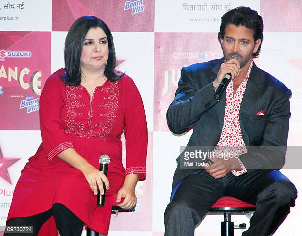 Hrithik Roshan and Farah Khan at the launch of TV show 'Just Dance' at Filmistan studios Goregaon on February 16 2011