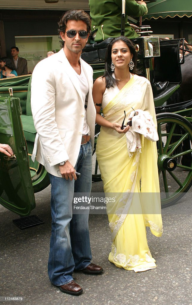 <a gi-track='captionPersonalityLinkClicked' href=/galleries/search?phrase=Hrithik+Roshan&family=editorial&specificpeople=234615 ng-click='$event.stopPropagation()'>Hrithik Roshan</a> and Kajol during Bollywood Legends' Dolls Launch at Harrods in London, Great Britain.