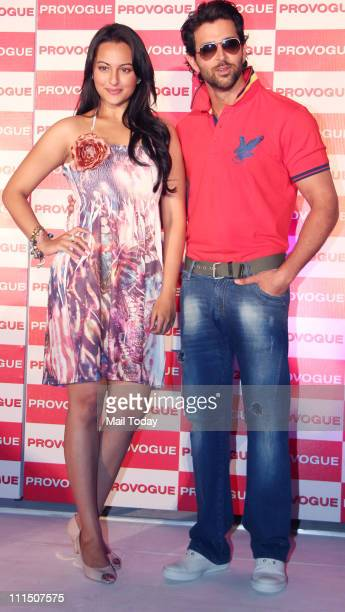 Hrithik Roshan and Sonakshi Sinha at the launch of Provogue's new 'Spring Summer Catalogue' at Novotel in Mumbai on 3rd April 2011