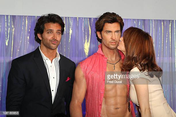 Hrithik Roshan and Susanne Roshan unveils his wax figure at Madame Tussauds on January 20 2011 in London England