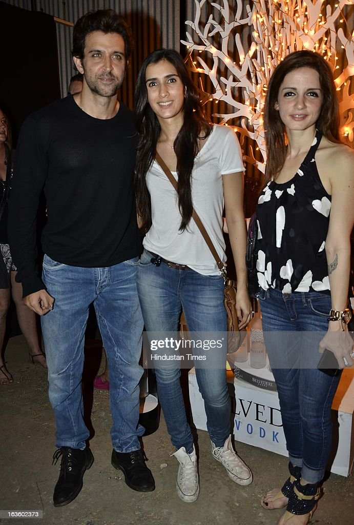 Hrithik Roshan and Susanne Roshan with Pragya at Special preview of Otlo Design project hosted by Belvedere Vodka at Bhavishyavani Backyard, Bandra on March 11, 2013 in Mumbai, India.