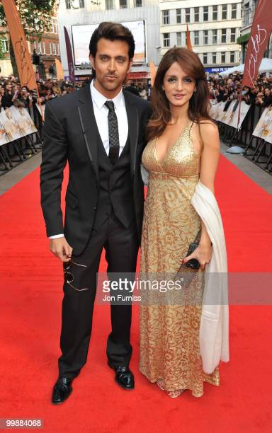 Hrithik Roshan and Suzanne Roshan attend the European Premiere of 'Kites' at Odeon West End on May 18 2010 in London England