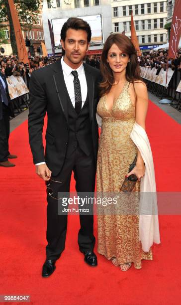 Hrithik Roshan and Suzanne Roshan attends the European Premiere of 'Kites' at Odeon West End on May 18 2010 in London England