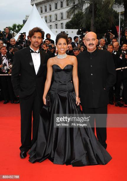 Hrithik Roshan Barbara Mori and Rakesh Roshan arriving at the 'Bright Star' premiere at the Palais de Festival during the 62nd Cannes Film Festival...