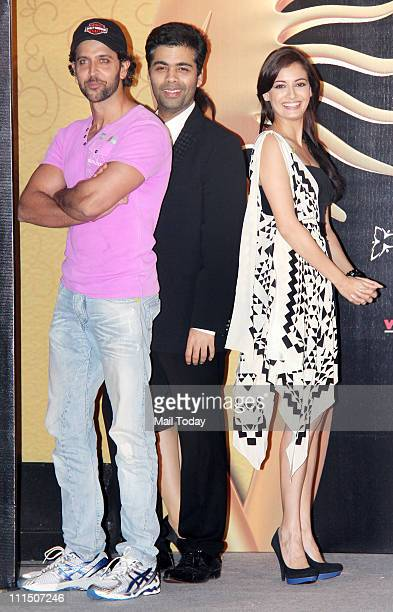 Hrithik Roshan Karan Johar and Dia Mirza at IIFA awards press meet at JW Marriott Mumbai on April 1 2011