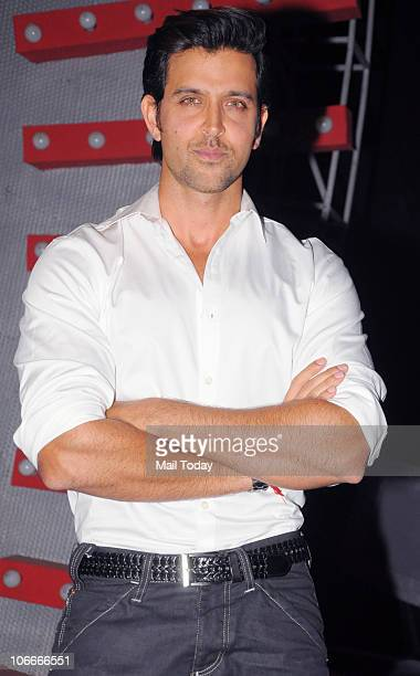Hrithik Roshan on the sets of the reality show Sa Re Ga Ma Pa in Mumbai on November 9 2010