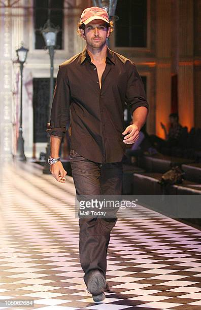 Hrithik Roshan walks the ramp at Day II of the HDIL Couture fashion week in Mumbai on October 7 2010