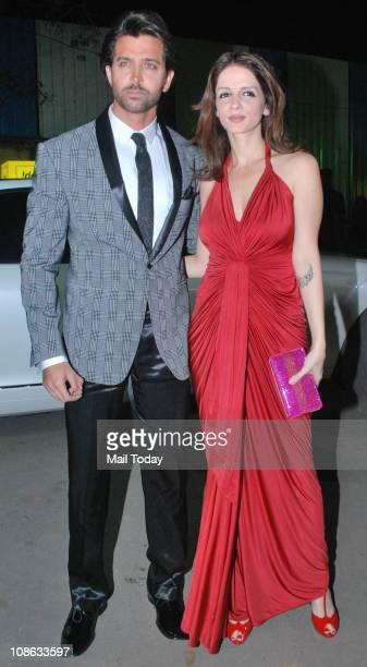 Hrithik Roshan with wife Suzanne Khan at the 56th Idea Filmfare Awards at Yashraj Studios in Mumbai