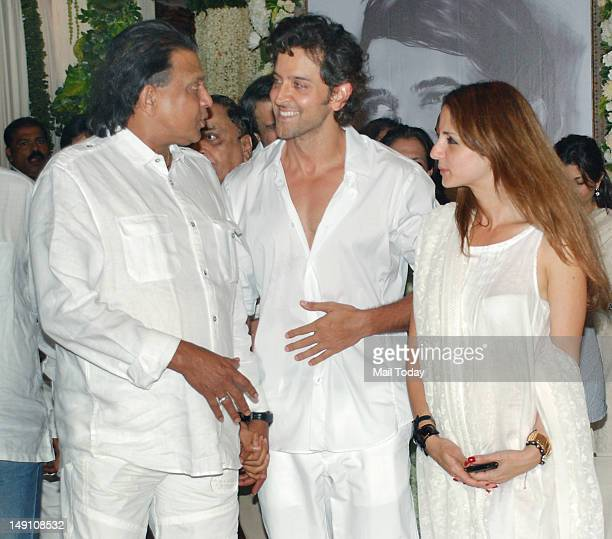 Hrithik RoshanSuzanne and Mithun Chakraborty attend a prayer function in memory of late actor Rajesh Khanna in Mumbai on July 21 2012 Khanna...