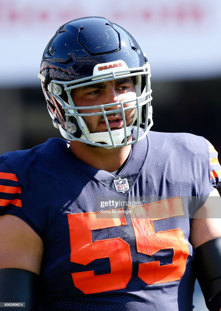 b42caaec4f5 ... Hroniss Grasu 55 of the Chicago Bears warms up prior to the game  against the ...