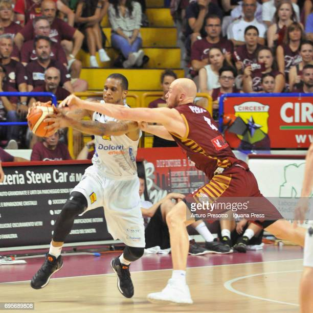 Hrvoje Peric of Umana competes with Joao Gomes of Dolomiti during the match game 2 of play off final series of LBA Legabasket of Serie A1 between...