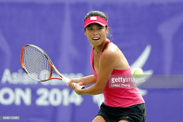 Hsieh Su Wei of Chinese Taibei returns a shot during the Women's Team Gold Medal Match against Zheng Jie of China on day five of the 2014 Asian Games...
