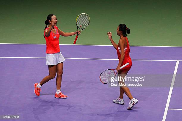Hsieh SuWei of Chinese Taipei and Peng Shuai of China celebrate victory against Ekaterina Makarova and Elena Vesnina of Russia after the Doubles...